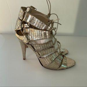 Loeffler Randall Gold Lace Up Heels